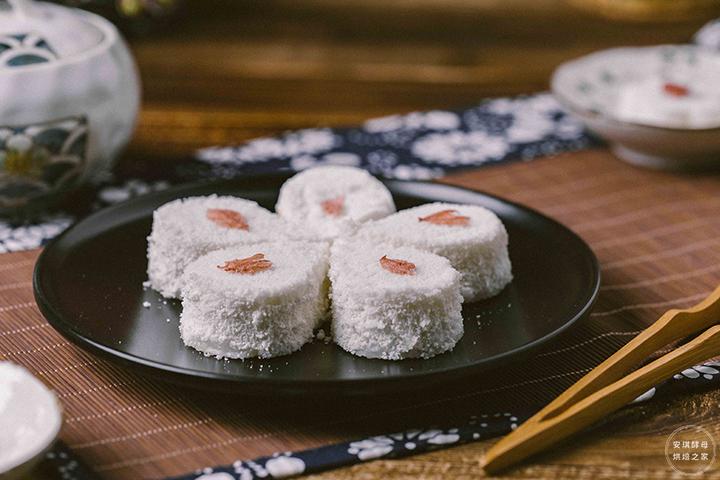 颜值爆表的樱花松糕,超简单,还吃出了小时候的味道